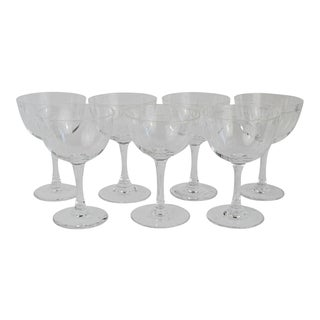 Vintage Mid Century Bamboo Etched Small Coupes- Set of 7 For Sale