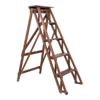 Vintage Takashimaya Folding Wood Ladder For Sale