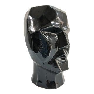 Large Contemporary Cubist Style Geometric Head Black Vase For Sale
