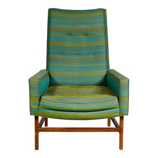 Vintage Mid Century Modern High-Back & Walnut Lounge Chair For Sale