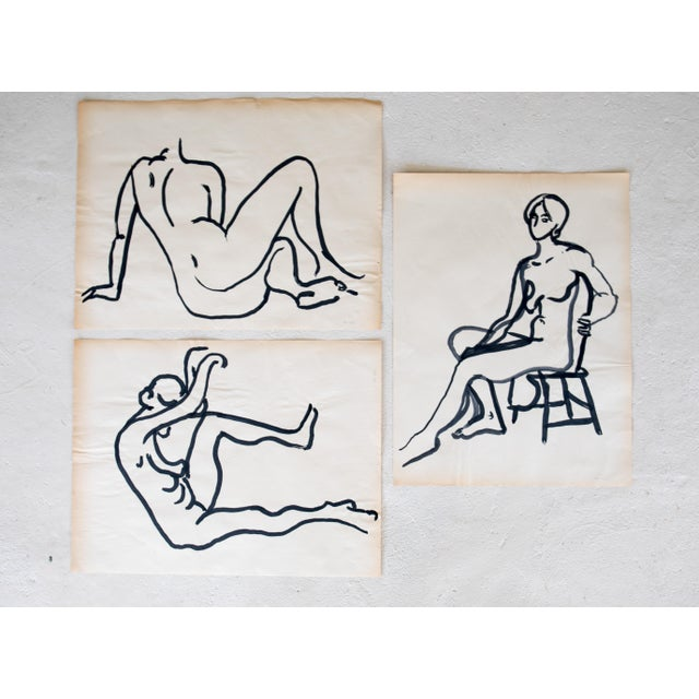 Figurative Original Mid-Century Triptych Nude Drawings - Set of 3 For Sale - Image 3 of 8
