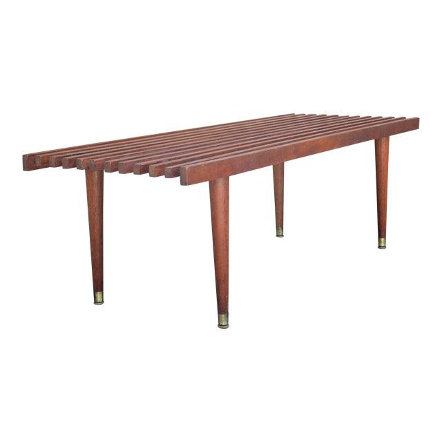 Mid-Century Modern Walnut Slat Bench/Coffee Table For Sale