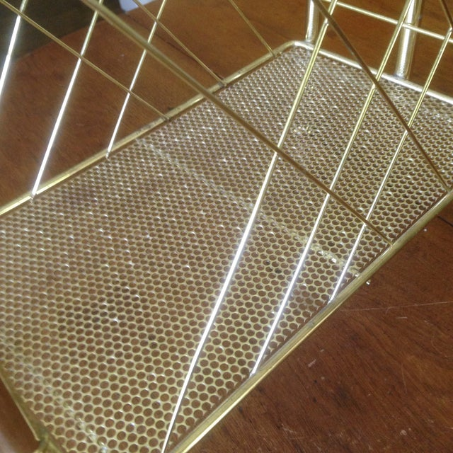 Metal Vintage Faux Bamboo Gold Magazine Rack For Sale - Image 7 of 11