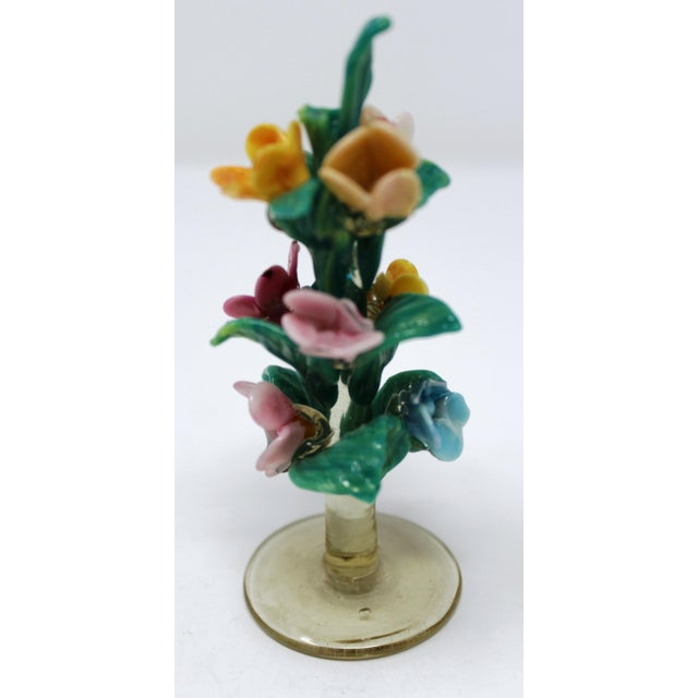 This pair of hand-formed Murano Glass flowers are approximately 100 years old. Very rare. Minor loss to petals, but...