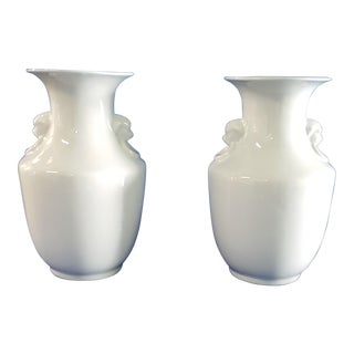 William-Sonoma Home White Chinoiserie Vases - A Pair