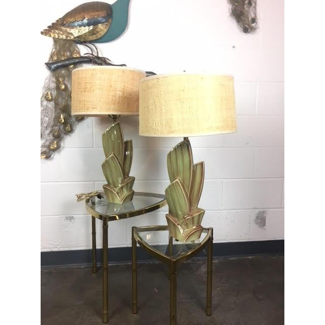 Boho Chic Vintage Cactus Lamps With Woven Grass Lamp Shades - Set of 2 For Sale - Image 3 of 4