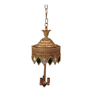 Vintage Moroccan Mid Century Swag Lamp For Sale