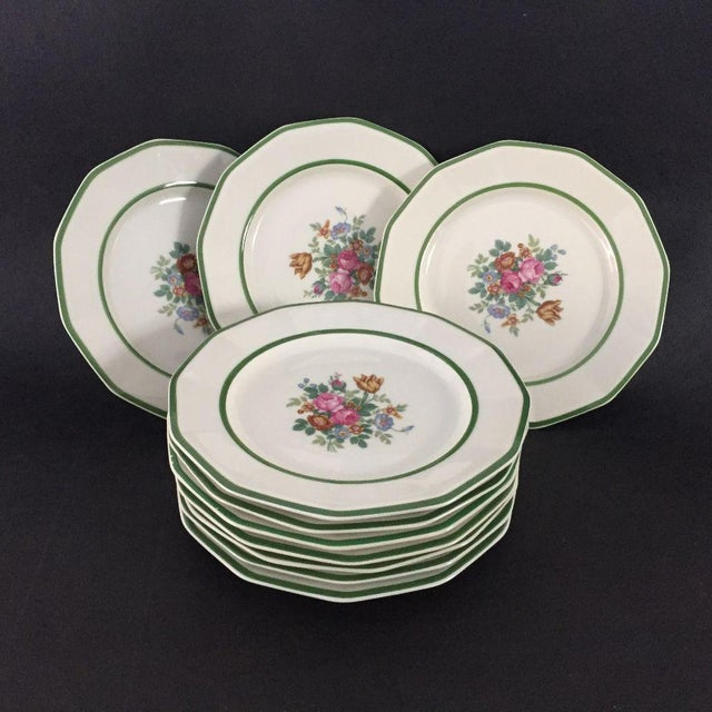 """Black Knight China"" Floral Lunch Plates - Set of 10 For Sale In New York - Image 6 of 6"