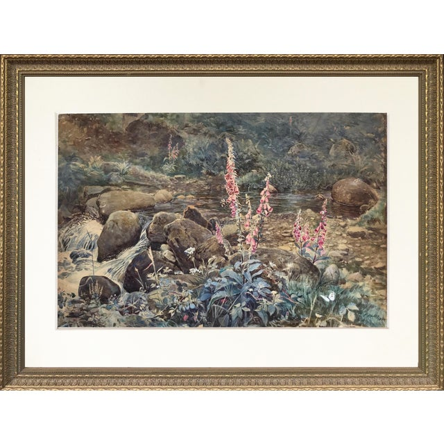 "Joseph Addey ""Fox Gloves"" English Landscape Painting 19th Century For Sale In New York - Image 6 of 6"