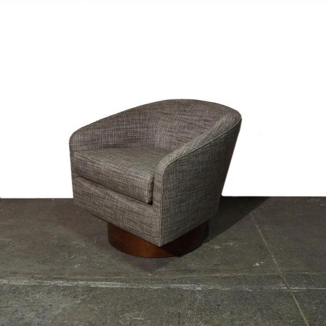 Wood Milo Baughman Swivel Chair For Sale - Image 7 of 7