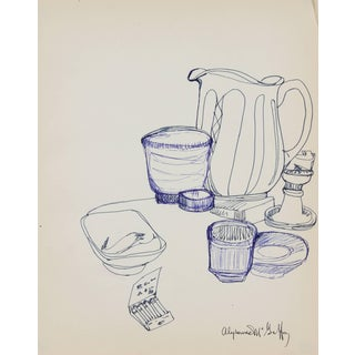 Alysanne McGaffey Kitchen Still Life in Blue Ink, Circa 1960s For Sale