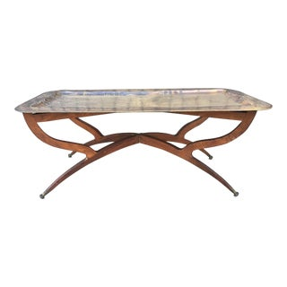 Large Moroccan Coffee Table Tray in Brass and Collapsable Table Base For Sale