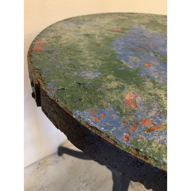 French 1940s French Circular Cast Iron Cafe Table For Sale - Image 3 of 7