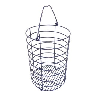 Satin Navy Blue Metal Wire Catchall Basket For Sale