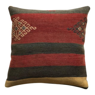 20th Century Turkish Red and Brown Wool Kilim Pillow - Medium For Sale