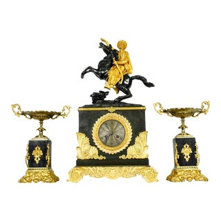 Very Fine Early 18th Century French Bronze Mantel Clock Set - Set of 3 For Sale