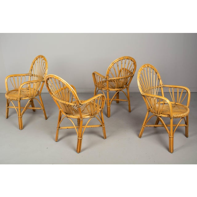 French Bamboo & Rattan Dining Chairs- Set of 4 For Sale - Image 9 of 11