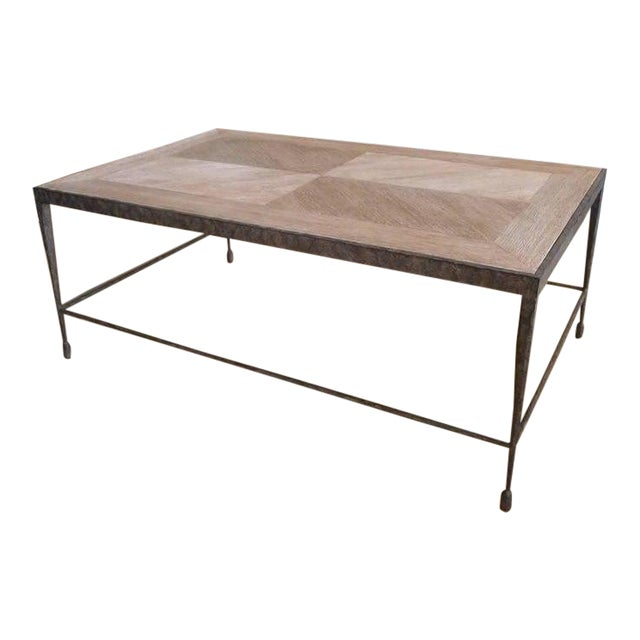 Paul Marra Design Textured Iron Coffee Table With Distressed Oak Top For Sale