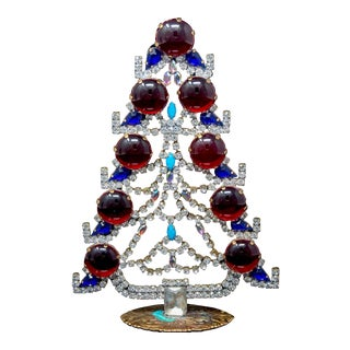 Czech Crystal and Rhinestone Mantle Christmas Tree For Sale