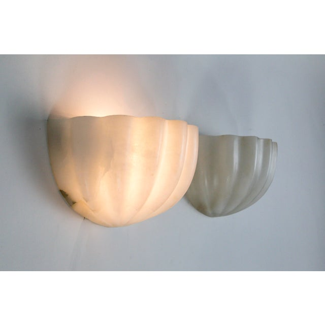 Contemporary Vintage Carved Alabaster Shell Sconces by Boyd - a Pair For Sale - Image 3 of 11