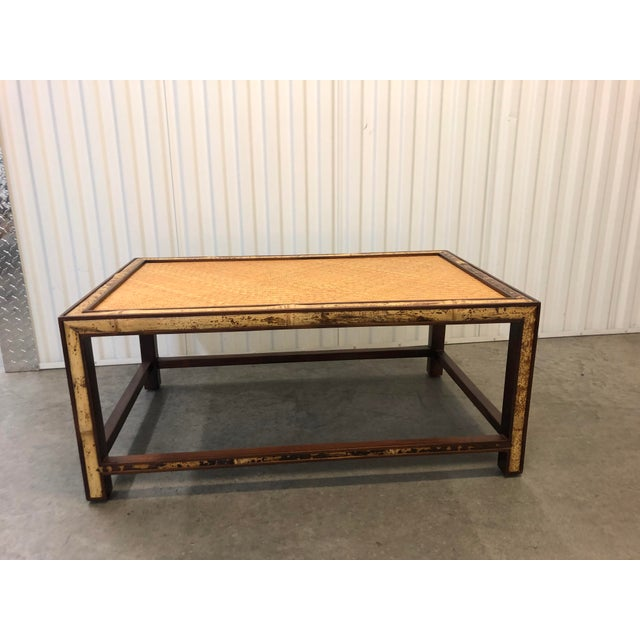 Faux Tortoise Bamboo and Rattan Coffee Table For Sale - Image 10 of 10