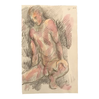 James Bone Stretching Male Nude Studio Watercolor Painting For Sale