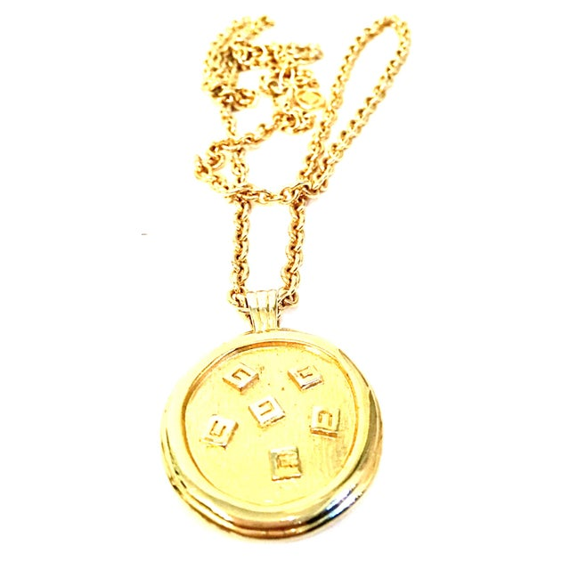 """Givenchy 20th Century Gold & Enamel """"G"""" Logo Reversible Givenchy Pendant Necklace For Sale - Image 4 of 9"""