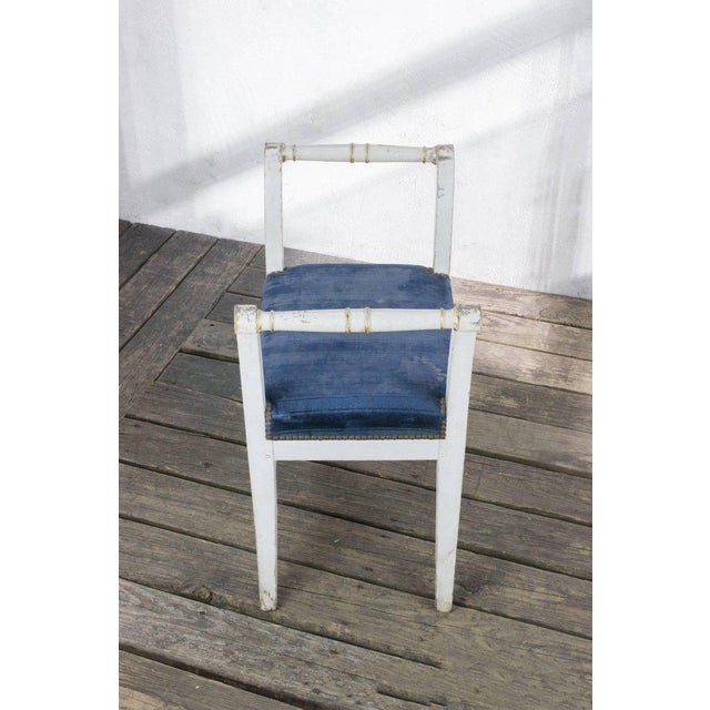 Blue Small French Empire Style Bench For Sale - Image 8 of 11