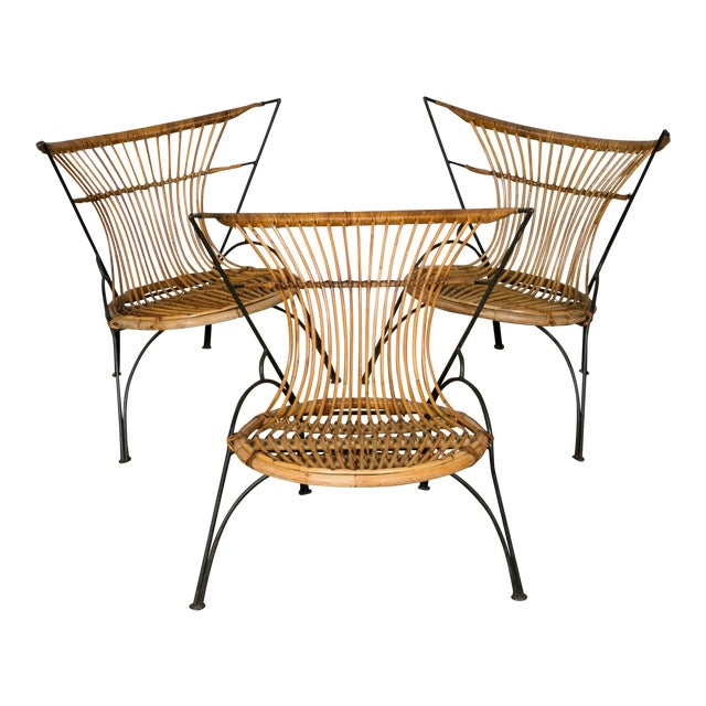 Set of 3 Metal and Wicker Slipper Chairs For Sale