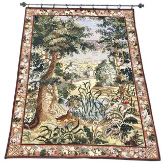 French Needlepoint Scenic Tapestry With Iron Rod For Sale