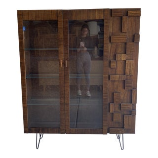 1960s Lane Brutalist China Cabinet For Sale