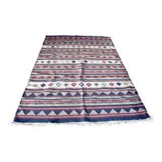 """Boho Chic Wool Flatwoven Handknotted Rug (63.5"""" X 93"""") (5'-3"""" X 7'-9"""") For Sale"""