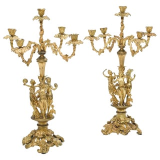 Pair of French Ormolu Figural Candelabra, 19th Century For Sale