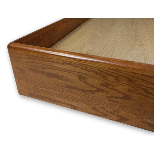 Burnt Umber Hand Crafted Mid-Century Danish Inspired Floating Platform Bed & Nightstands - King For Sale - Image 8 of 13