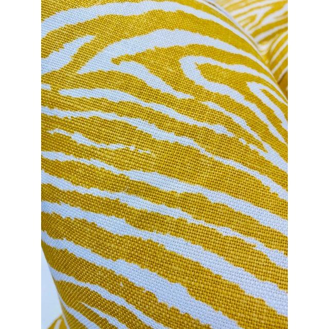"Brunschwig & Fils Brunschwig & Fils ""Le Zebre Saffron"" 22"" Pillows-A Pair For Sale - Image 4 of 5"