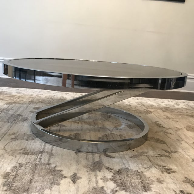 Milo Baughman Mid-Century Modern Chrome and Smoked Glass Coffee Table For Sale In New York - Image 6 of 9