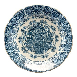 Large Round Delft Blue and White Floral Platter For Sale