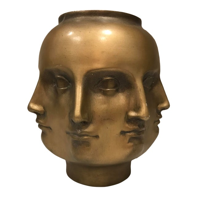 Modern Pietro Fornasetti Style Dora Marr Gold Perpetual Face Vase For Sale