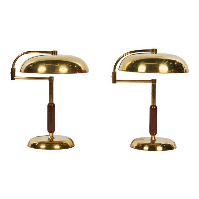 Unique Pair of Articulating French Brass and Wood Table Lamps For Sale