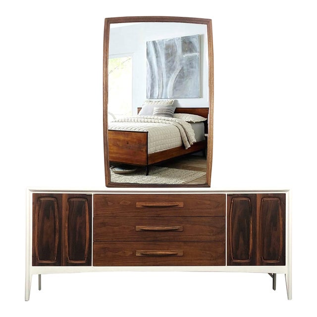 1960s Broyhill Emphasis Bedroom Dresser & Mirror For Sale