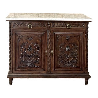 Antique Louis XVI French Walnut Buffet With Carrara Marble Top For Sale