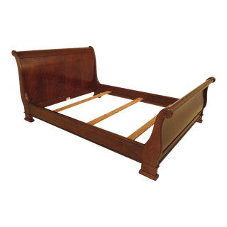 Queen Size Mahogany Sleigh Bed With Bracket Feet For Sale