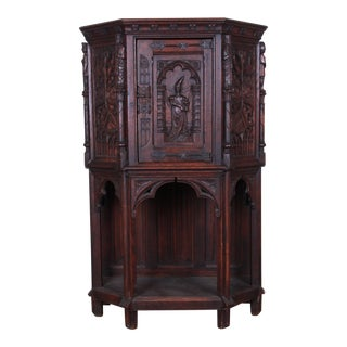19th Century Ornate Carved Oak Belgian Gothic Bar Cabinet For Sale