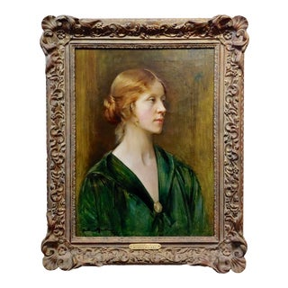 Arthur Hacker 1918 Portrait of a Young Lady Impressionist Oil Painting For Sale