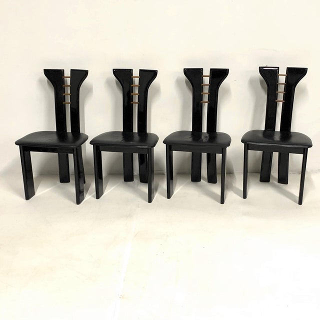 Wood Set of 4 Sculptural 1970s Black Lacquer Pierre Cardin Chairs With Leather Seats For Sale - Image 7 of 10