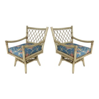 Vintage Bent Rattan Armchairs W/ Loose Cushions- Two Pairs Available For Sale