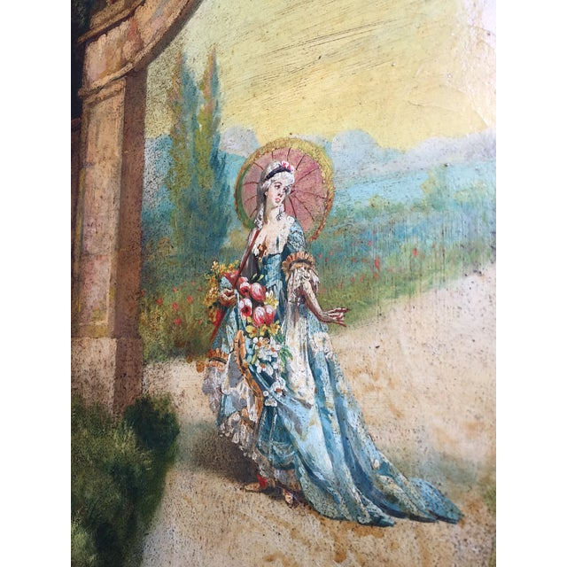 6 Ft Antique Painted Leather Screen W/ Pastural Scene For Sale In Miami - Image 6 of 10