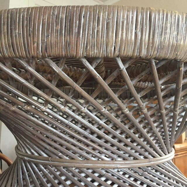 Round Rattan Woven Coffee Table For Sale In Boston - Image 6 of 7