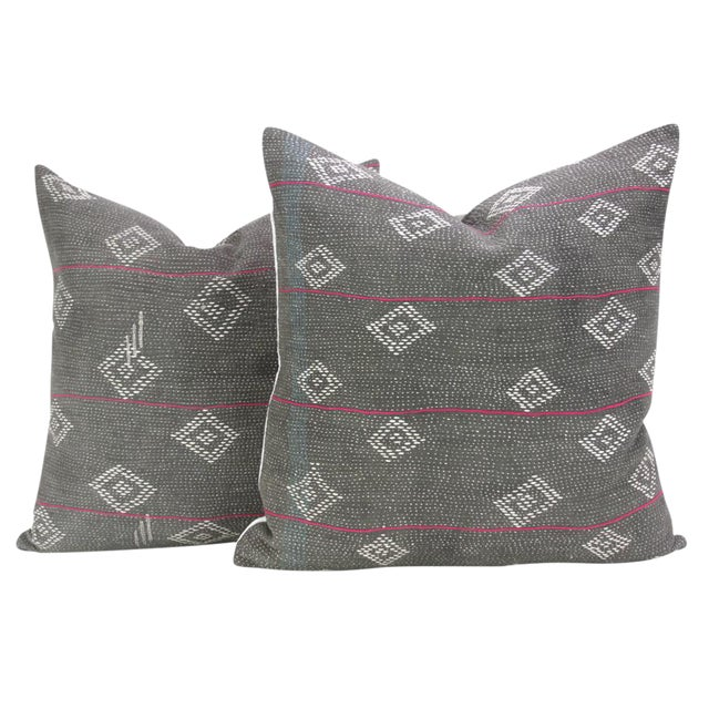 Dark Gray Bengal Kantha Pillows - A Pair For Sale