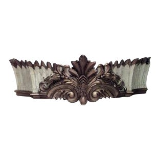 19th Century Carousel style large carved and painted wall plaque (valance) with crown shape and geometric design For Sale